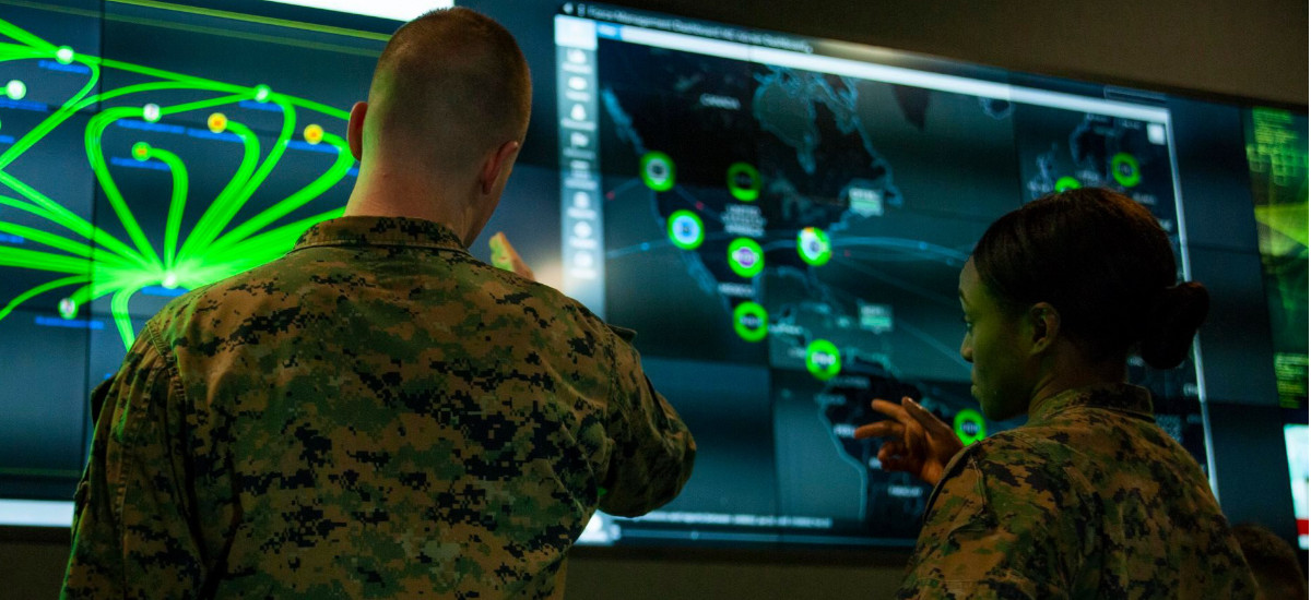 Marines with Marine Corps Forces Cyberspace Command in the cyber operations center in Lasswell Hall at Fort Meade, Md., Feb. 5, 2020.