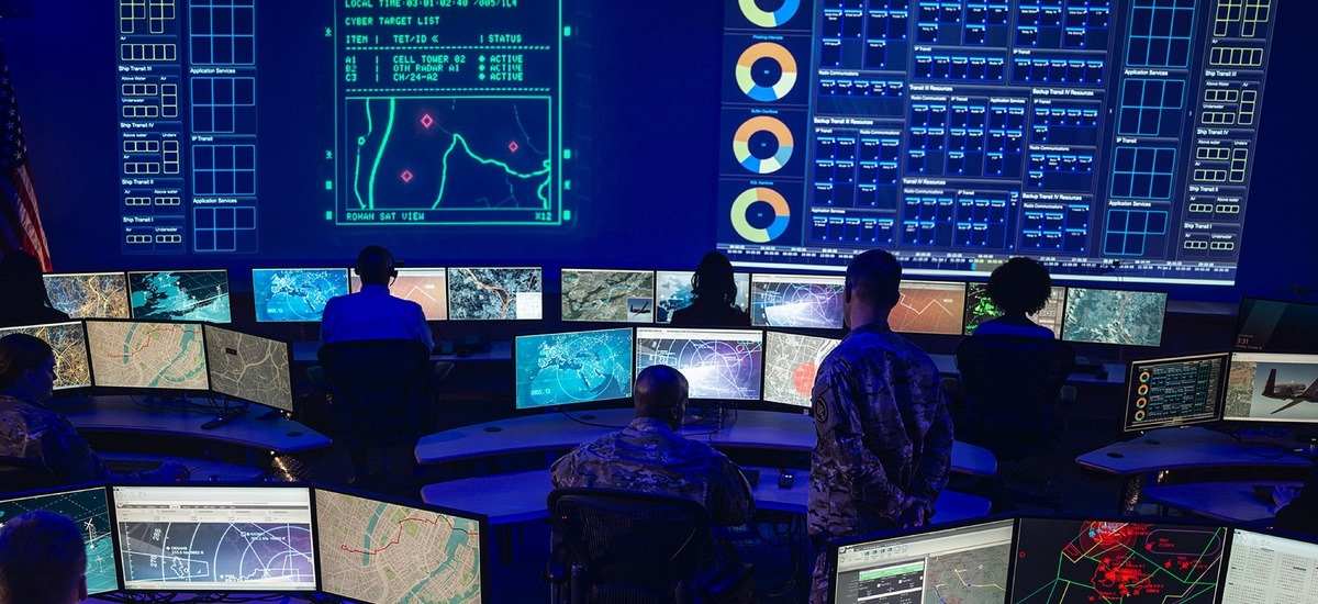 A look at a Joint All-Domain Command & Control (JADC2) command room.